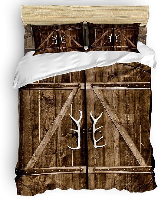 Amazon.com: 4 Piece Bedding Sets, Antlers Door Wood Rustic Old