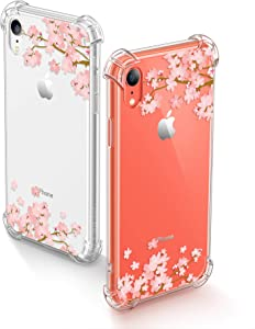 GVIEWIN iPhone XR Cases, Bouquet Series Unique Clear Floral XR Phone Case Girls Women Stylish Flexible Soft Slim Fit Anti-Shock Protective Cover for iPhone XR 6.1 Inch (Apricot Blossom/Pink)