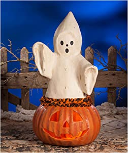 "Bethany Lowe 22.5"" Ghost Pumpkin Jack O Lantern Retro Vintage Style Halloween Decor"