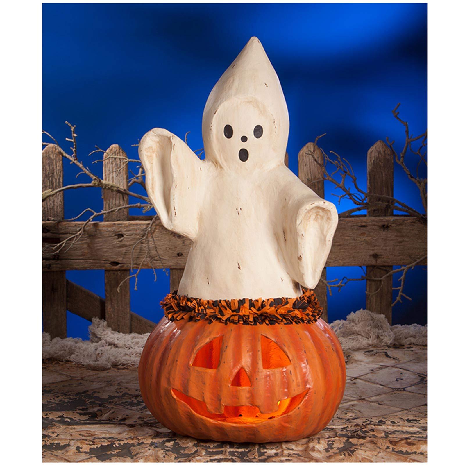 "Bethany Lowe 22.5"" Ghost Pumpkin Jack O Lantern"