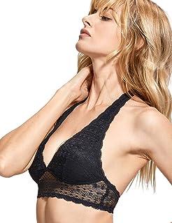 0a40e8c24a8a8 DOBREVA Women s Wirefree Removable Pads Longline Deep V Lace Halter Bralette