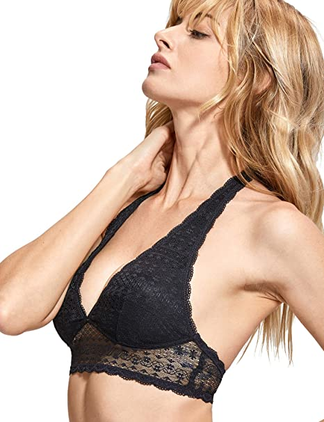 ec40a8b63ec25 DOBREVA Women s Wirefree Removable Pads Longline Deep V Lace Halter Bralette  Black XS Fit 30A 30B