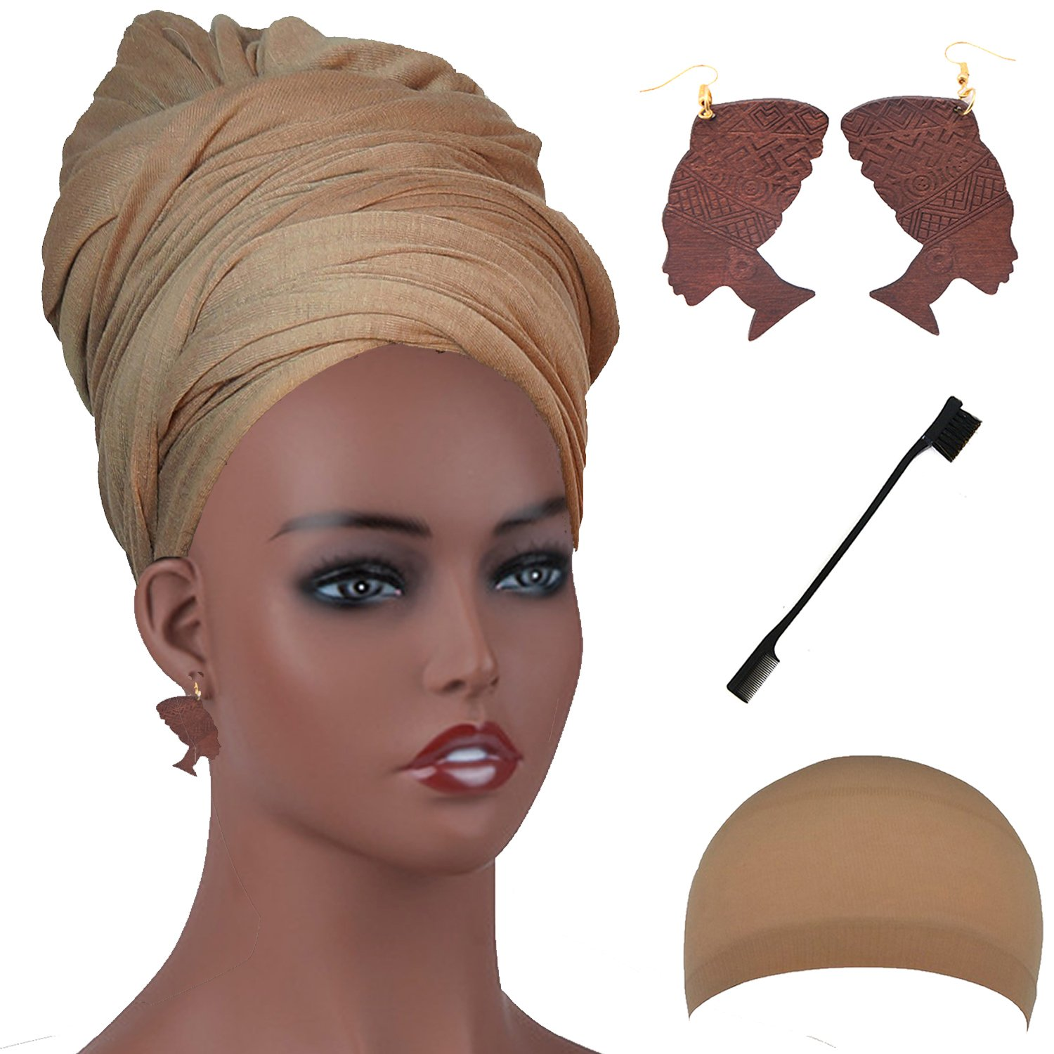 Long Stretch Head Wrap Set- Solid Color African Turban Hair Scarf Tie, Double Sided Edge Control Hair Brush Comb Combo,Wooden Colored Turban African Woman Earrings,Wig Cap (OneSize, Camel)