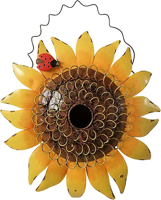 "Metal Sunflower Bird House for Outside Hanging Decorative Hand-Painted Birdhouse Yard Garden Decor 12""X12""X4"""