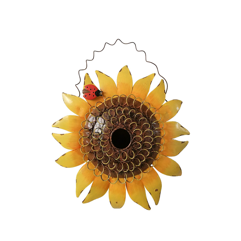 Attraction Design Metal Decorative Sunflower with Ladybug Bird House, 11.5Inch