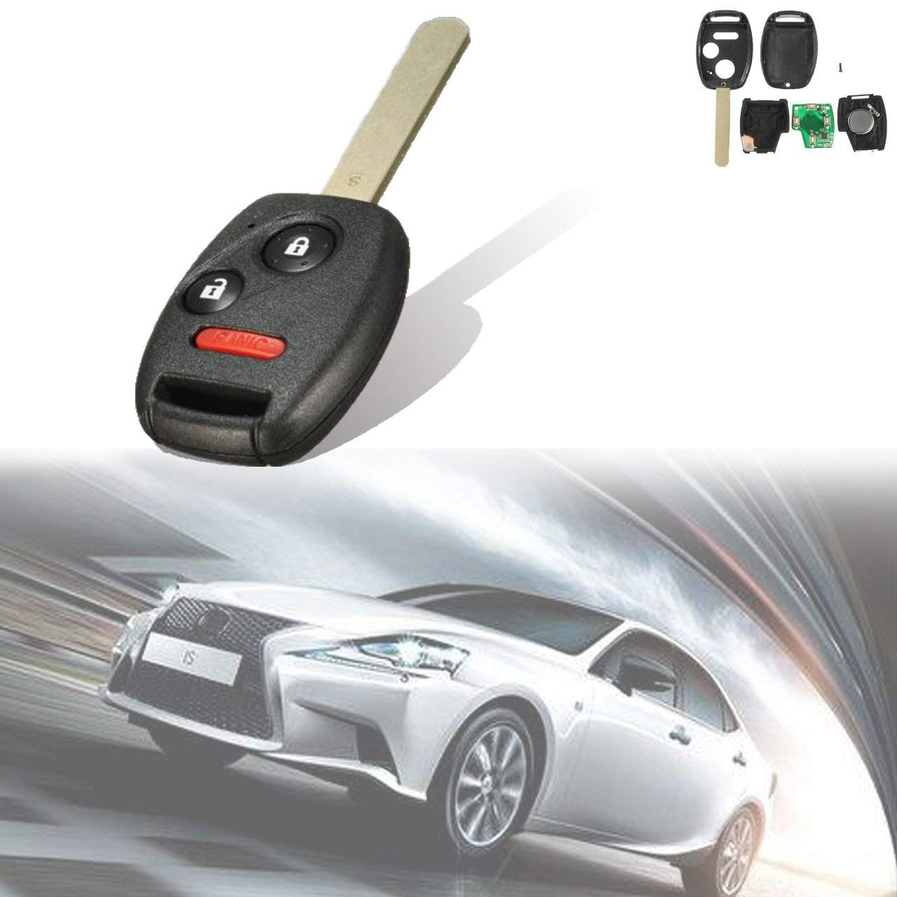 TUINCYN Black Keyless Fob 433MHz Chip Entry Remote Control Uncut Car Key Replacement with 3 Button for for Honda Pilot 2005-2008(Pack of 1)