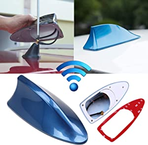 Possbay Universal Car Antenna Aerial Shark Fin AM/FM Radio Signal for Auto SUV Truck Van with Adhesive Base Waterproof