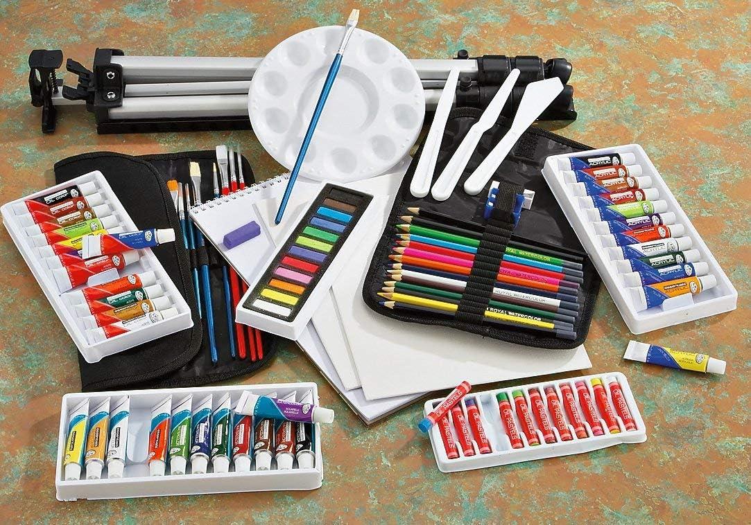 Artista todos los medios caballete Conjunto de Viaje Acuarela Oleo Pinturas Acrílicas /& Pasteles 96pc