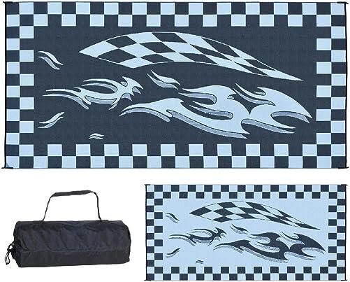 Stylish Camping Black Checker Flag Mat 8-Feet x 16-Feet