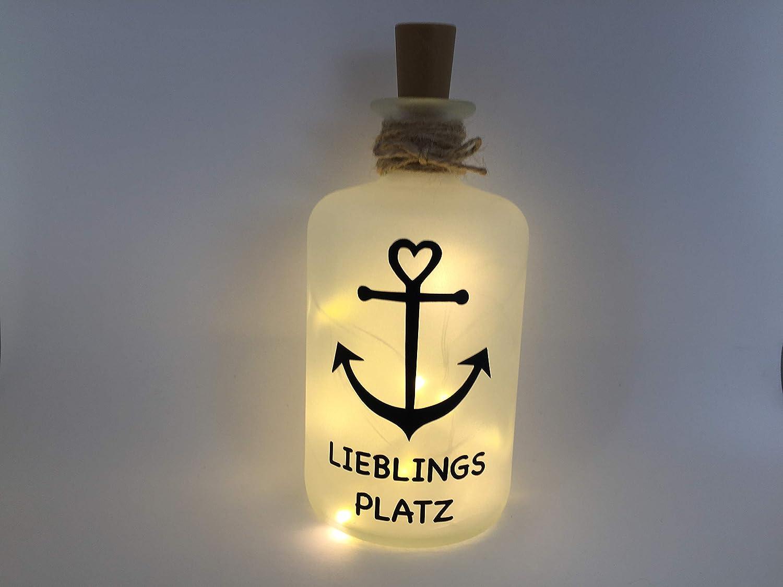 Flaschenlicht individuell LED Lichterkette Anker Lieblingsplatz Liebglings Platz