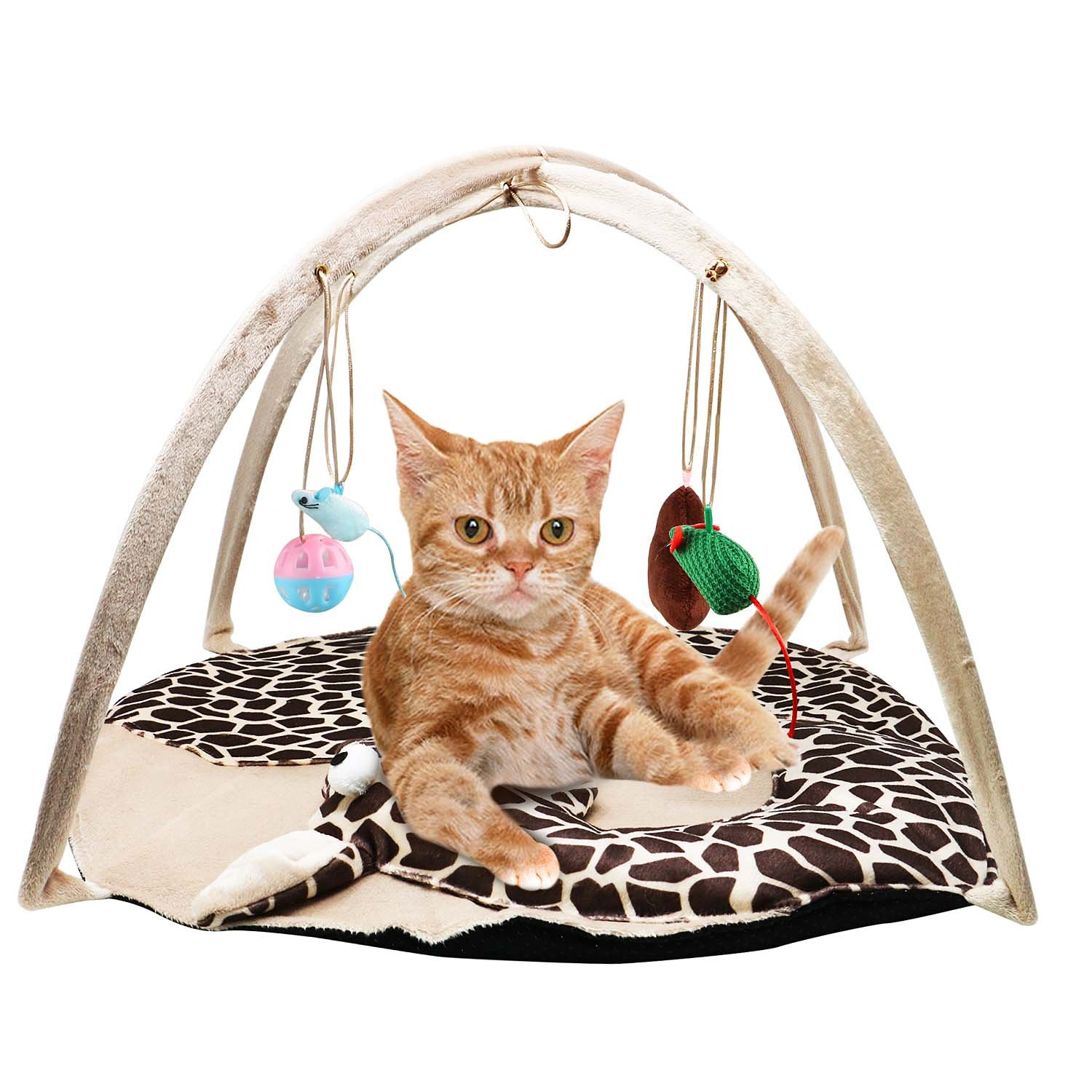 B Bascolor Cat Play Mat Bed with 4 Hanging Toys Bell Balls Crinkle Toy for Cats Kitten by B Bascolor