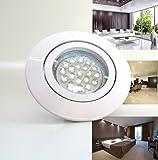 1 x Einbaustrahler PAGO - Farbe: Weiß - ideal für LED, SMD und Halogen - inkl. 230V-Fassung und 12V-Fassung- dimmbar, schwenkbar