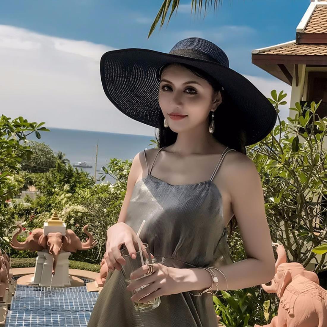 De alta calidad ERLINGSAN-MZ Sombreros De Mujer Escapada De Verano  Plegables Gorras De Playa d52218f8b7a
