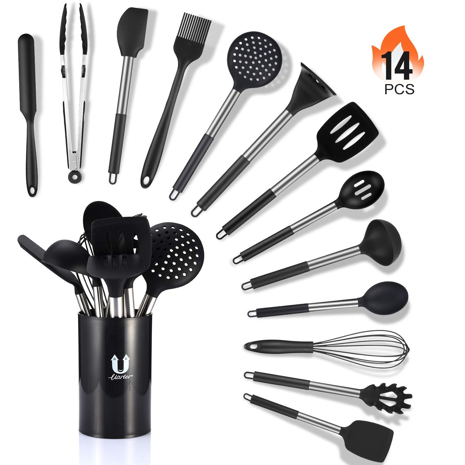 Silicone Cooking Utensil Set 14 Pcs, Uarter Kitchen Utensils Cooking Utensils Set, Non-stick Heat Resistant Silicone Cookware with Stainless Steel Handle - Black by Uarter