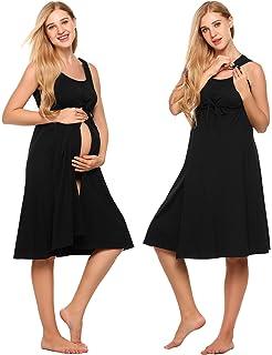 6b97ed7083936 Ekouaer Women's Maternity Dress Pregnant Nursing Elegant Nightgown  Breastfeeding Sleepwear ...