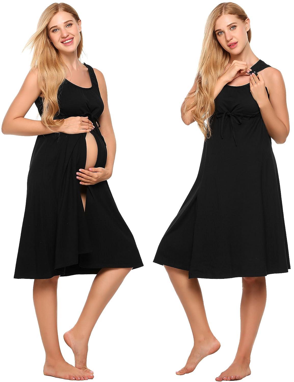 cb5a8ba0b38aa Ekouaer Women s Maternity Dress Pregnant Nursing Elegant Nightgown  Breastfeeding Sleepwear (XS-XXL) - Fashion Maternity Clothing