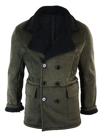 découvrir les dernières tendances grand assortiment Pré-commander Manteau chaud 3/4 fourrure fausse peau de mouton intérieur lainé double  boutonnage vintage homme