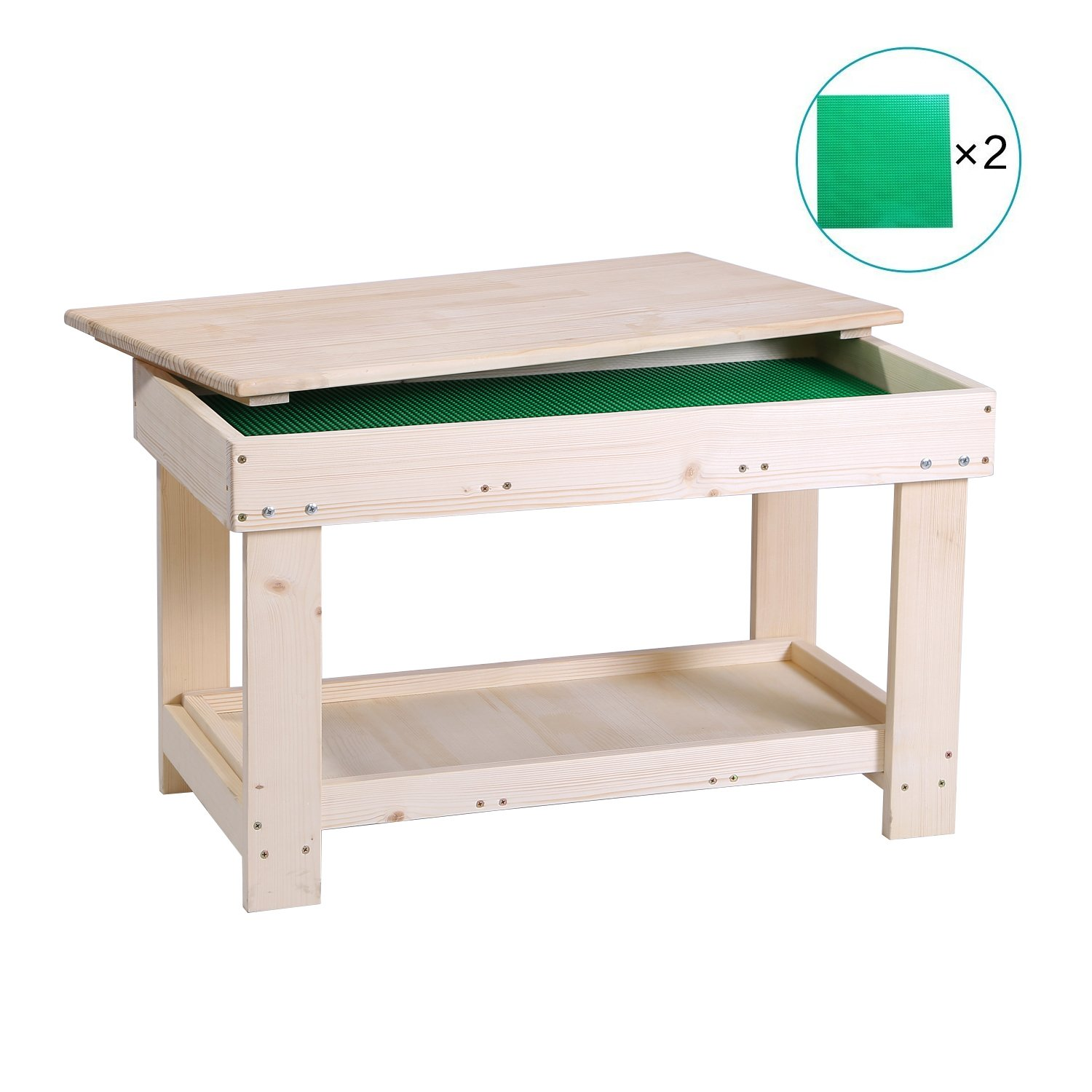 YouHi N in 1 Double Deck Design Wooden Multi-Activity Play Table for Block Board