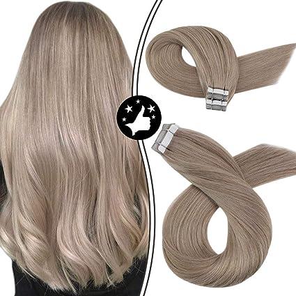 Image ofMoresoo 14Pulgadas/35cm Extensiones de Cabello Natural Adhesivas Tape in Hair Extensions #18 Rubio Ceniza Brasileño Humano Cabello Natural Para Extensiones 40g/20pcs