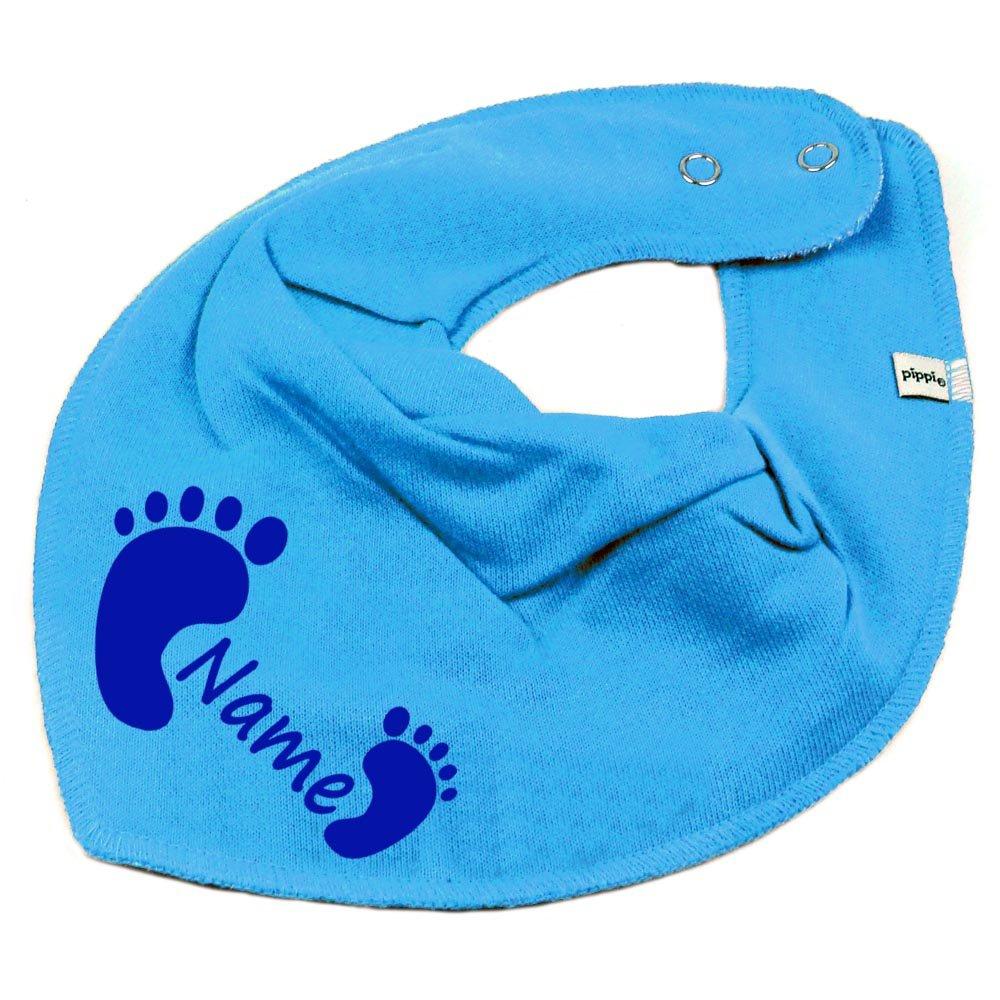 HALSTUCH Füßchen mit Namen oder Text personalisiert khaki für Baby oder Kind Elefantasie