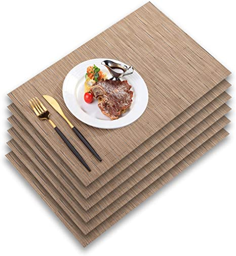 Amazon Com Pabusior Placemat Woven Vinyl Placemats For Dining Table Washable Easy To Clean Non Slip Place Mats For Kitchen Table Set Of 6 Wipeable 12 X 18 Inch Beige Home Kitchen