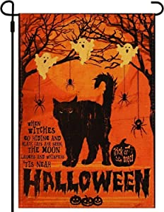 xbd Black Cat Happy Halloween Garden Flag Trick or Treat House Flag Vertical Double Sided, Burlap Yard Outdoor Decoration 12.5 x 18.5 Inch