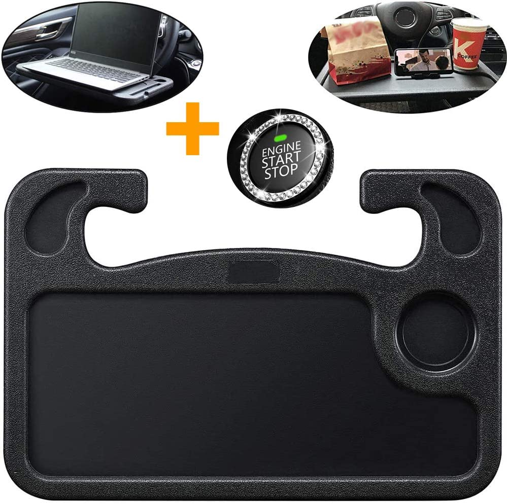 Car Steering Wheel Desk, Multifunction Portable Auto Steering Wheel Tray for Laptop Food Snack Lunch Drinking Constant Travelers with Bling Car Rhinestone Ring, Fits Most Vehicles Steering Wheels