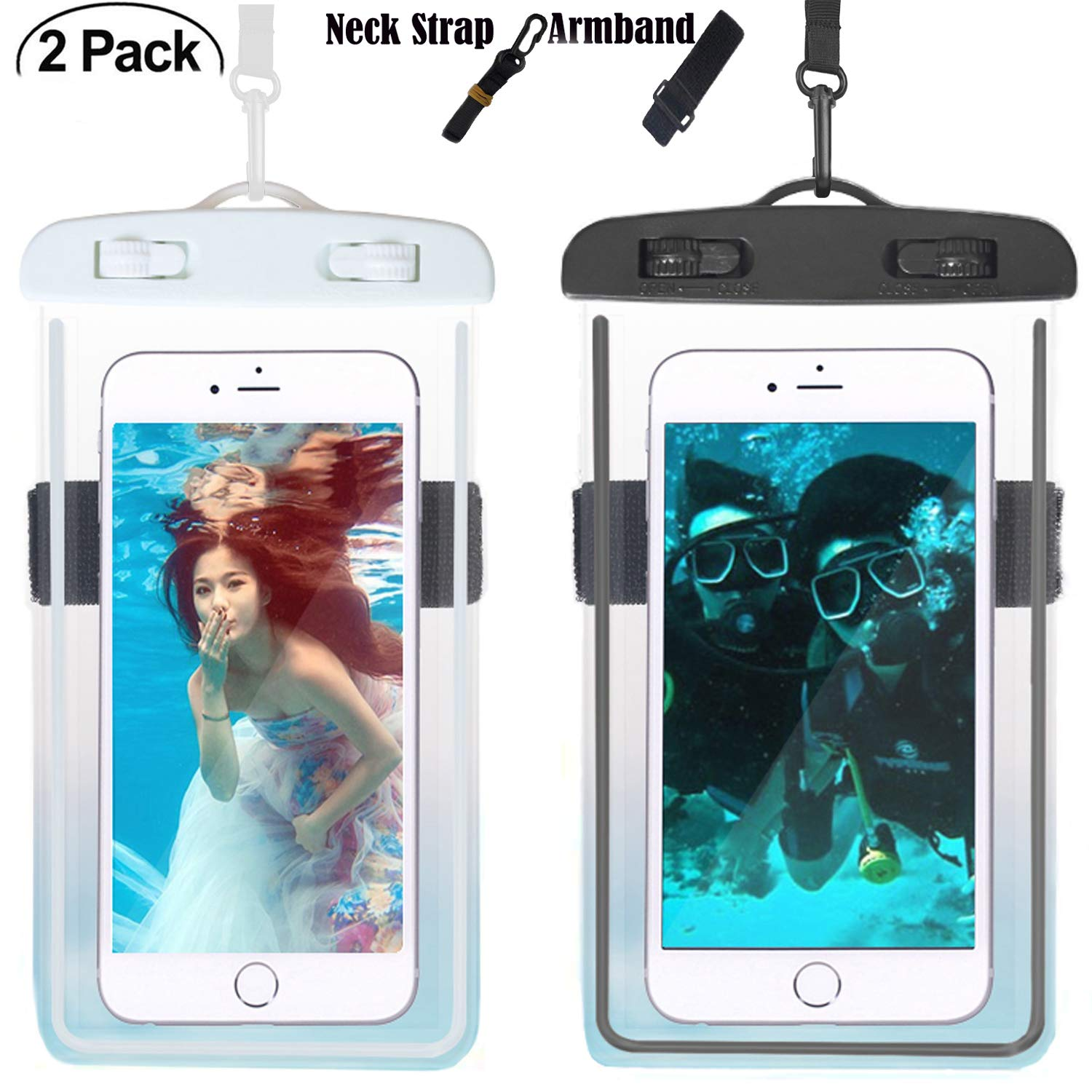 Universal Waterproof Case, Waterproof Phone Pouch Dry Bag with Armband & Neck Strap for iPhone X 8 8Plus 7 7Plus 6S 6SP 6 6Plus, Samsung Galaxy S9/S9 Plus/S8 Plus/Note 8 6 5 up to 6.0'' (White,Black)