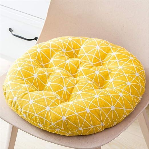 LZYD Redondos Cojines para sillas 100% algodón y Lino Transpirable ...