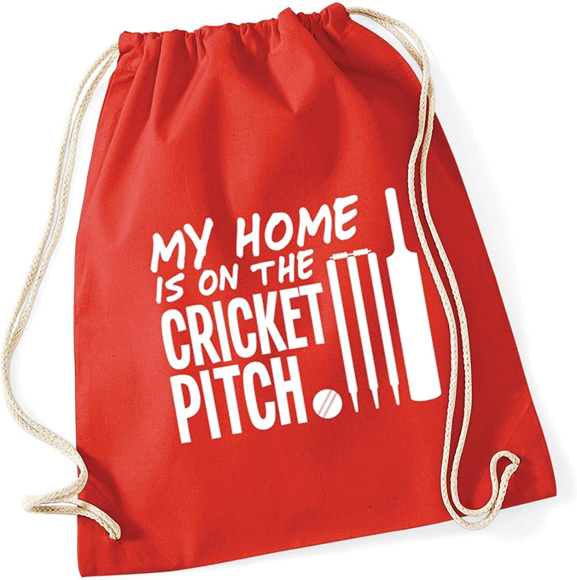 12 litres HippoWarehouse My Home is on the Cricket Pitch Drawstring Cotton School Gym Kid Bag Sack 37cm x 46cm