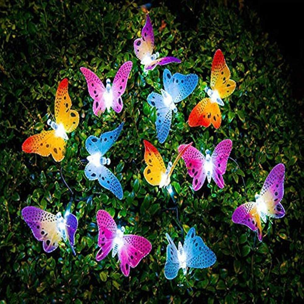 Butterfly Solar String Lights Outdoor, Sundecor Multi-Color Beautiful Butterfly Fairy Lights 12 LED Waterpoof Fiber Optic Solar Lights for Garden Lawn Patio Wedding Party Festival Outdoor Decoration