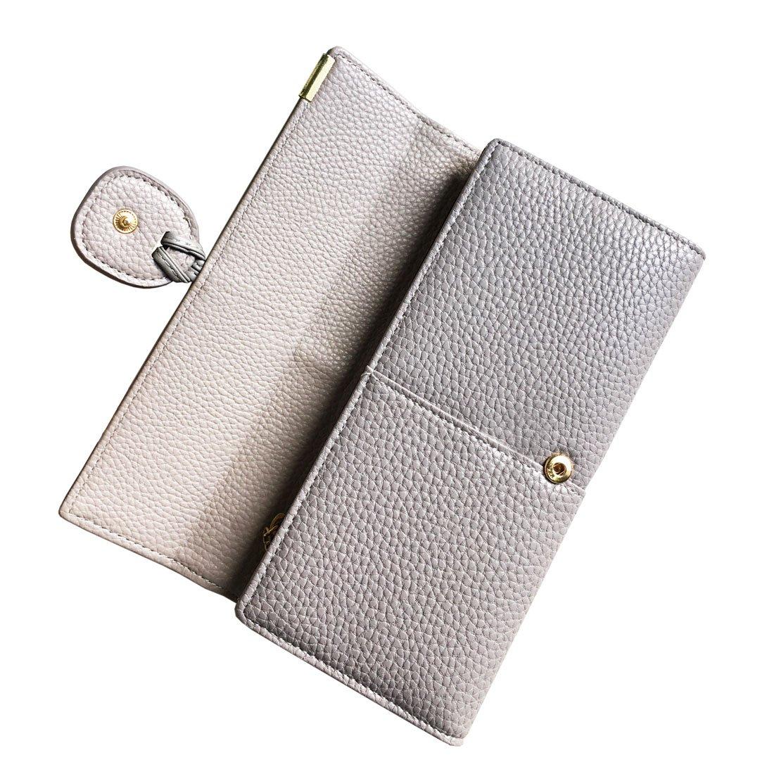 Rfid Blocking Leather wallet for women Girls,ladies long purse Large Capacity(Grey) by YOTOO (Image #5)