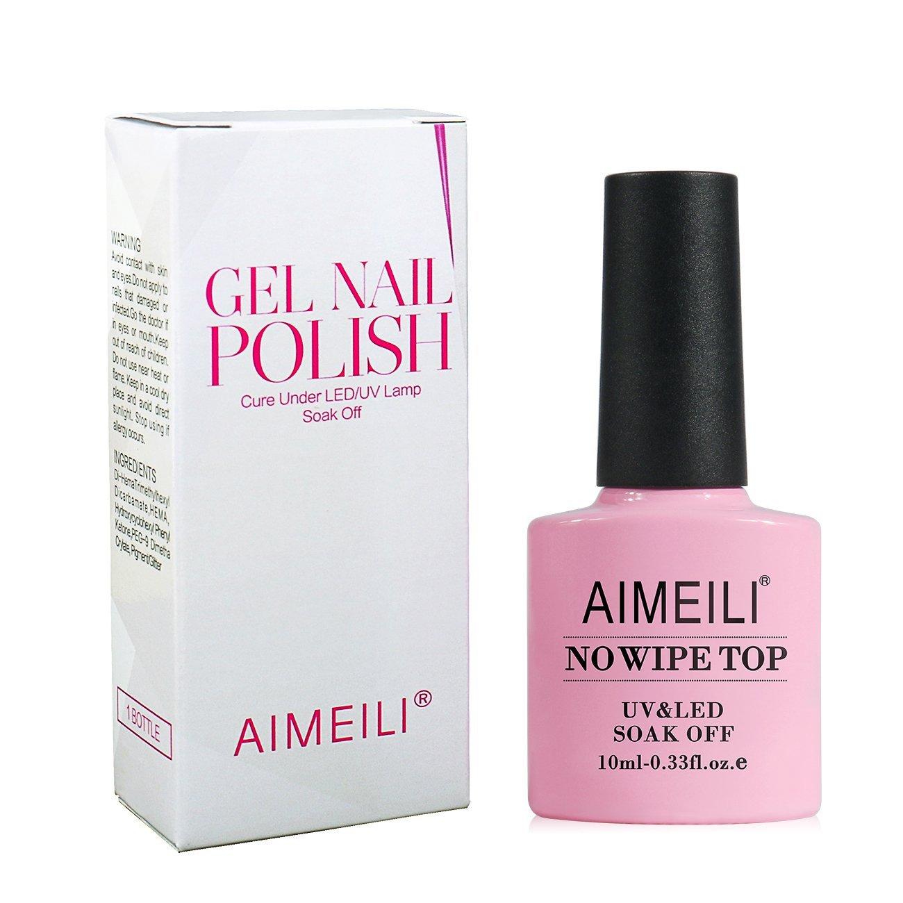 AIMEILI No Wipe Top Coat Gel Nail Polish Soak Off UV LED Gel Nail ...