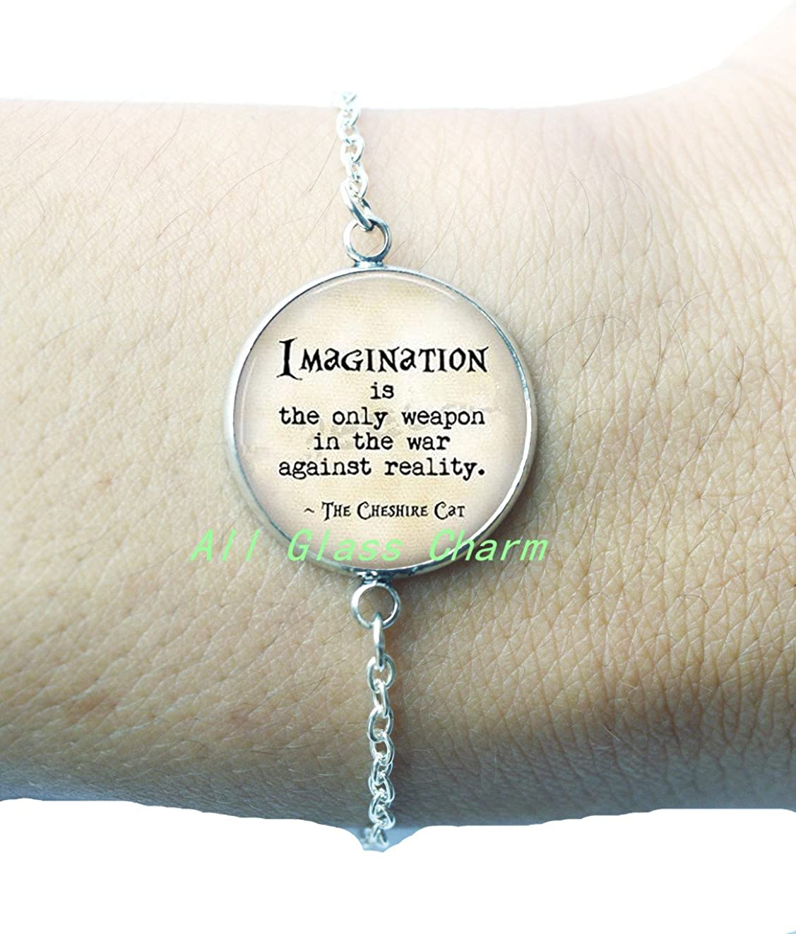 Charming Locket Necklace,Beautiful Locket Necklace,Wonderland Quote Imagination is the only weapon in the war against reality Cat Quote White Rabbit Charm