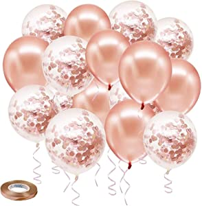 Rose Gold Confetti Latex Balloons, 50 pack 12 inch Birthday Balloons with 33 Feet Rose Gold Ribbon for Party Wedding Bridal Shower Decorations
