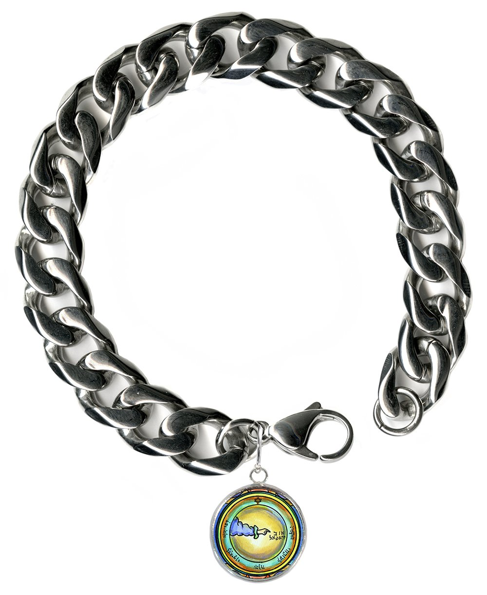 Solomons 3rd Moon for Travel Protection Steel 9'' Mens Bracelet 12mm Thick Curb Chain