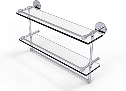 Allied Brass P1000-2TB 22-GAL-PC 22 Inch Gallery Double Towel Bar Glass Shelf, Polished Chrome