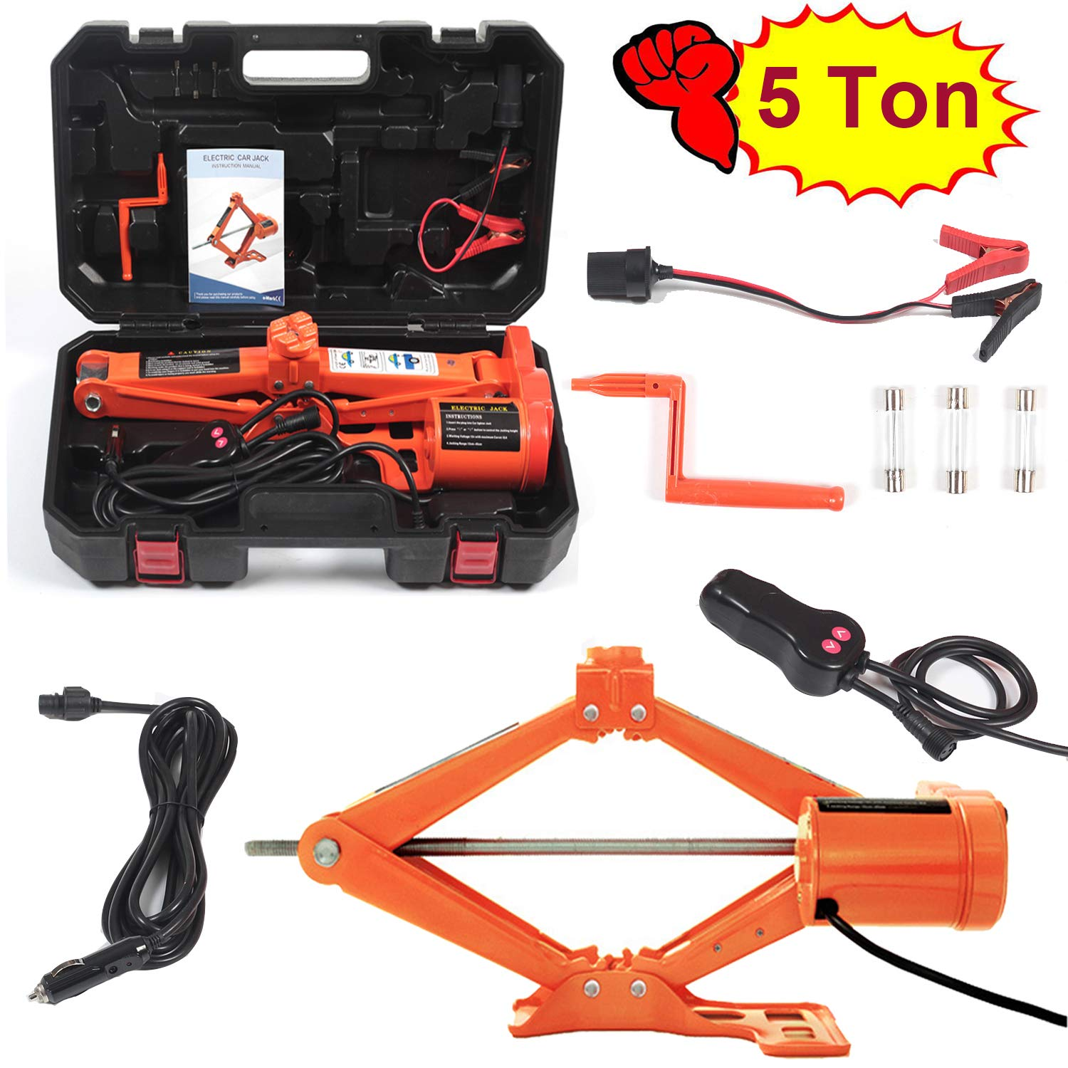 Electric Car Floor Jack 5 Ton All-in-one Automatic 12V Scissor Lift Jack Set for SUV w/Remote Tire Change Repair Emergency Tool Kits Floor Jack for Vehicle Wheel Change (5T) by Reliancer