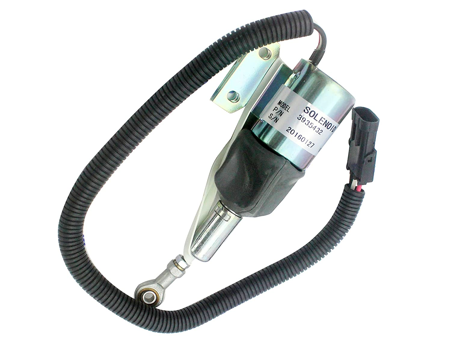SINOCMP Stop Solenoid for Cummins Excavator 6BT 5.9 Engine 3 Month Warranty 3935432 3935430 SA-4755-24 Fuel Shutdown Solenoid 24V