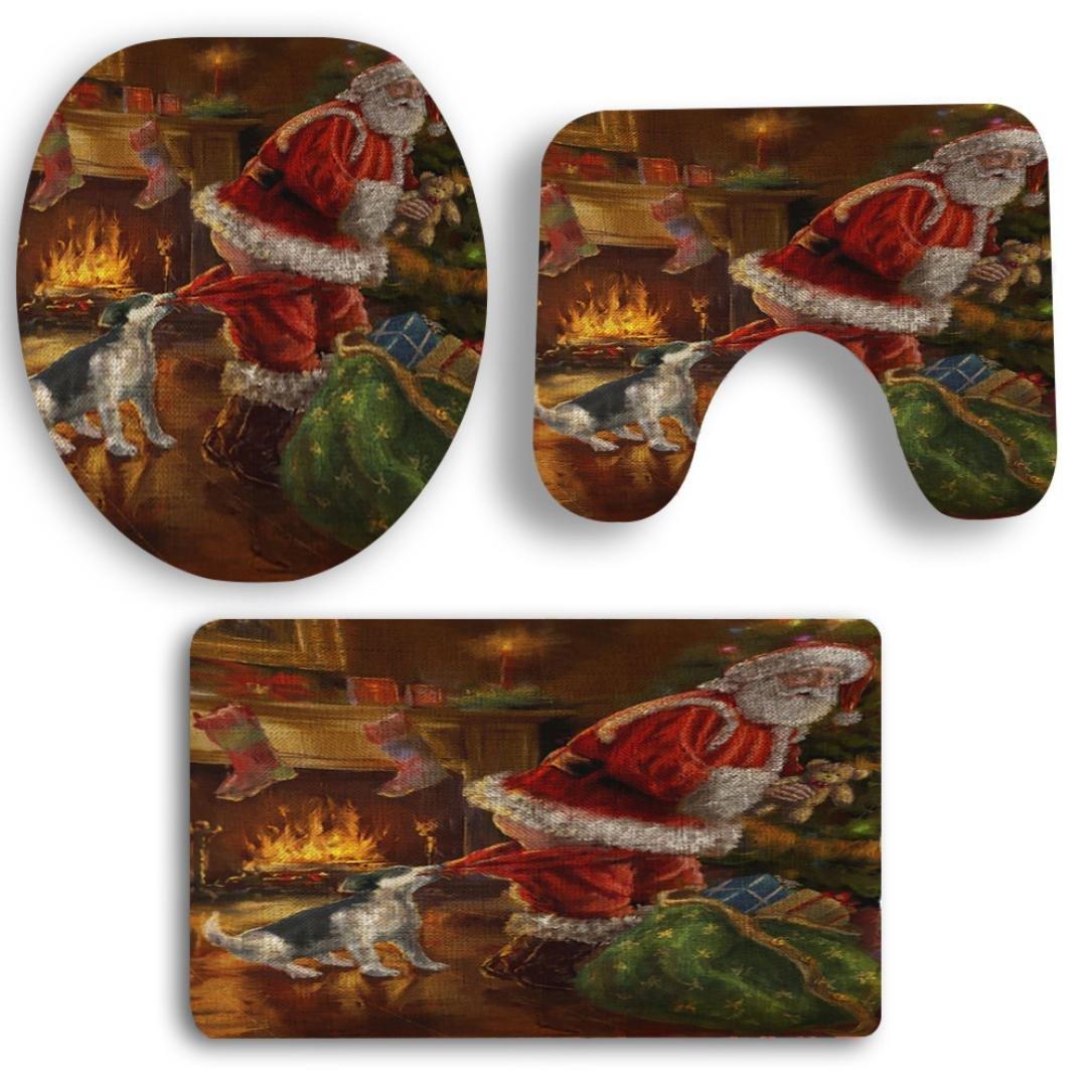 Printed Rug, Vanvler 3PCS Christmas Bathroom Non-Slip Pedestal Rug + Lid Toilet Cover + Bath Mat Set