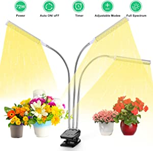 LED Plant Grow Light, VOGEK Growing Lamp Full Spectrum for Indoor Plants with Timer, Tri Head Growing Light for Seedlings with Adjustable Gooseneck & Desk Clip On, 3 Switch Modes 10 Brightness Setting