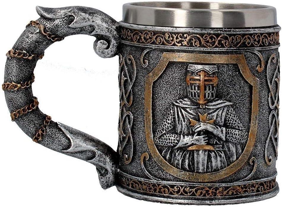 HMKZXQ Skull Hold Sword Knights 3D Relief Jarra de Cerveza de Acero Inoxidable Taza de café Bar Club Tumbler