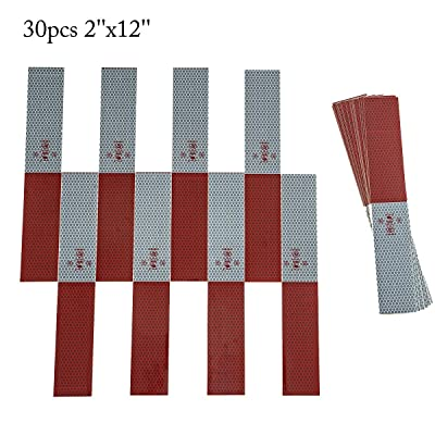 Libracompany 30Pcs PMMA Material High Viscosity Reflective Tape Conspicuity Safety Caution Warning, Trailer Reflector, Visibility Film, 2''12'' Truck Car Adhesive Sticker(Red/White): Automotive