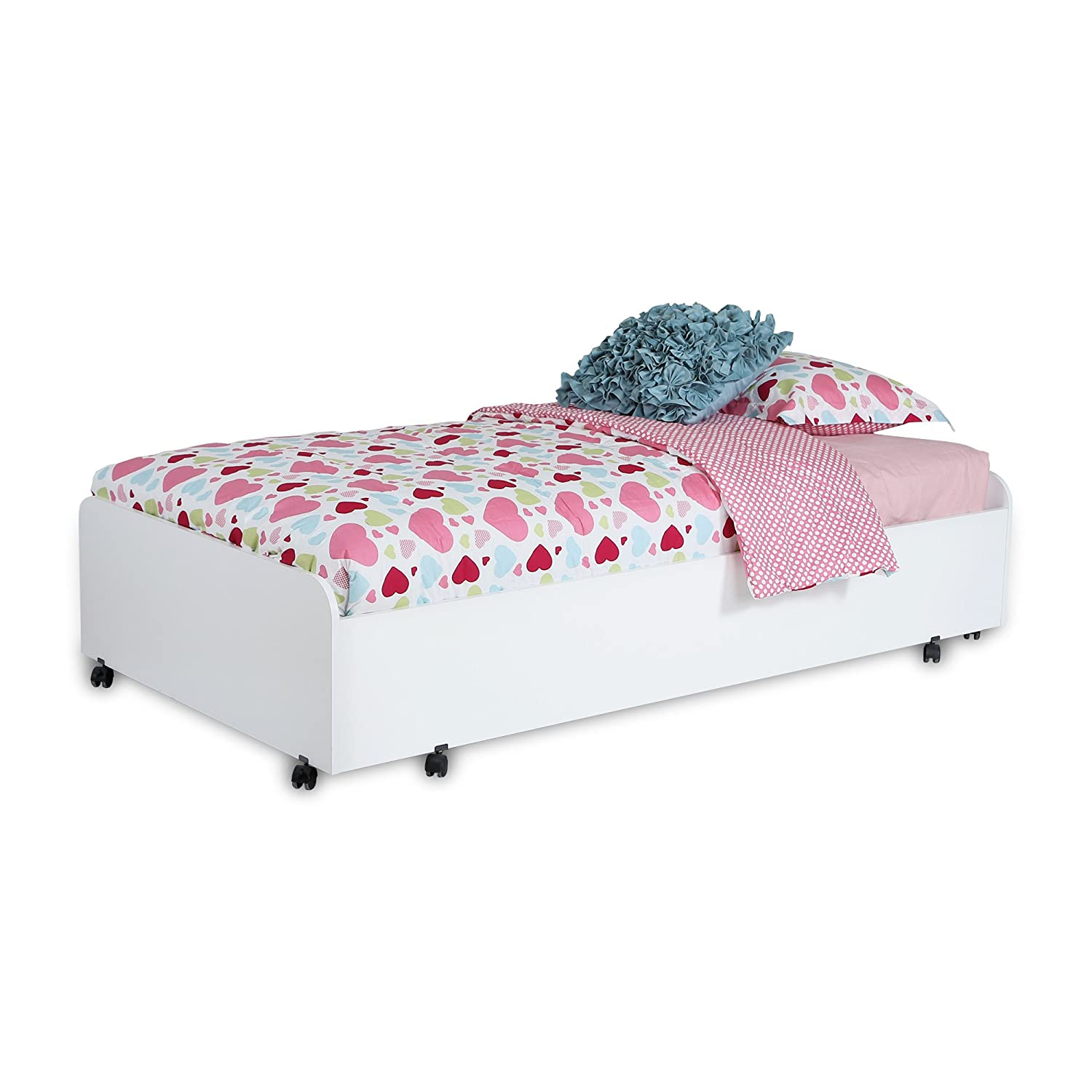South Shore Mobby Twin Trundle Bed on Casters, 39-Inch, Pure White 3880082