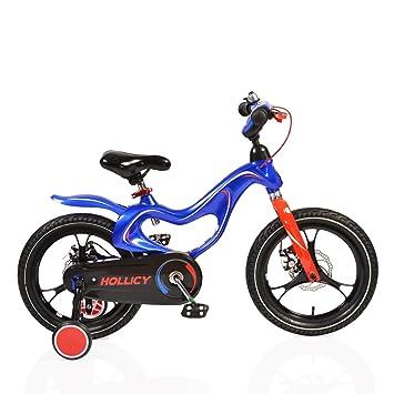 byox bicicleta infantil 16 pulgadas Magnesio Azul, ruedines, timbre, ajustable: Amazon.es: Juguetes y juegos