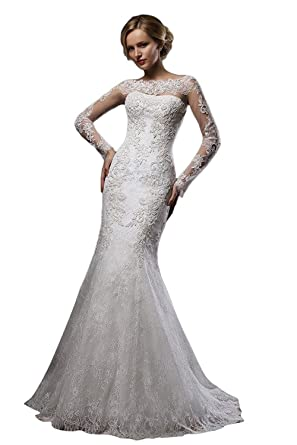 4e98e5eb98bd Cloverdresses Elegant Boat Neck Lace Mermaid Wedding Dresses for Bride Long  Sleeves Birdal Gowns at Amazon Women's Clothing store: