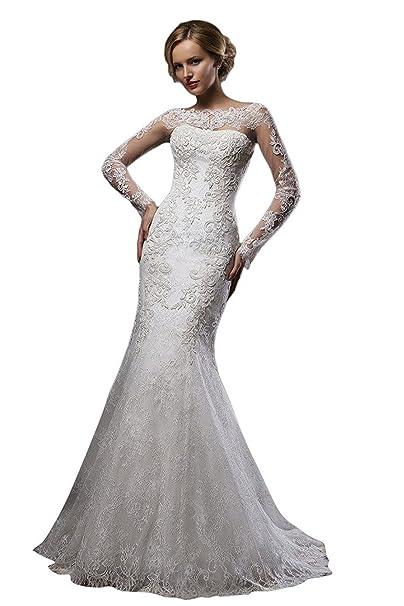 VIPbridal Lace sirena vestido de novia de manga larga barrido tren vestidos de novia: Amazon.es: Ropa y accesorios