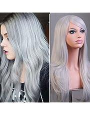 Parrucca Grigia Lunga da Donna Cosplay Halloween con Frangia Capelli Mossi  Sintetici Full Wig Riccia per 5415ba762266