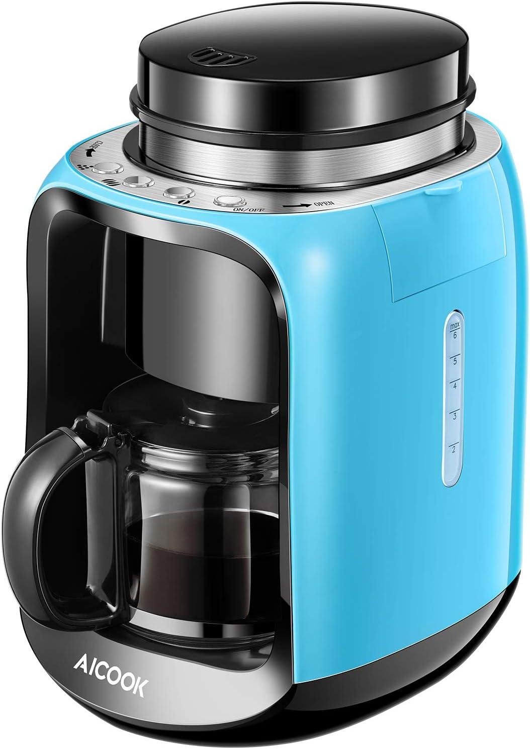 Cafetera con Molinillo, 2 en 1 Cafetera Automatica Molinillo Integrado, Aicook cafetera Goteo Función de Calentamiento Automático, (600ml) 2-6 Tazas Cafetera de Filtro con Jarra de Vidrio, 600W, Auzl (Azul): Amazon.es: Hogar