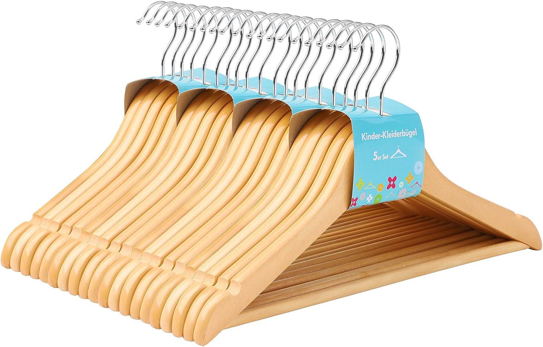 SONGMICS CRW006-20 - Perchas de Madera para niños, 20 Unidades, con Barra, Muescas, Gancho Giratorio 360°, Color Natural, 35 cm